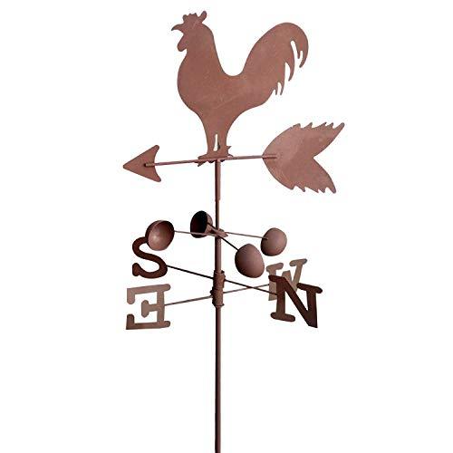 Vintage Traditional Metal Rooster Weathervanes Wind Speed Direction Indicator Garden Patio Yard Ornament Decoration 120cm Random Color