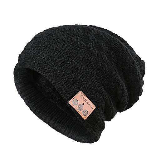 Pococina Upgraded 4.2 Bluetooth Beanie Music Hat Winter Knit Hat Cap Wireless Headphone Musical Speaker Beanie Hat as Christmas Birthday Gifts for Men Women Teen Girls Boys, Built-in Mic - 028 Black -