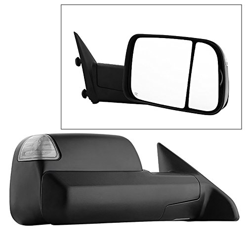 (VIPMOTOZ Heated Power Remote Passenger Side Right View LED Turn Signal w/Puddle Light Exterior Towing Mirror & Glass Replacement For 2009-2012 Dodge RAM 1500 2500 3500 Pickup Truck)