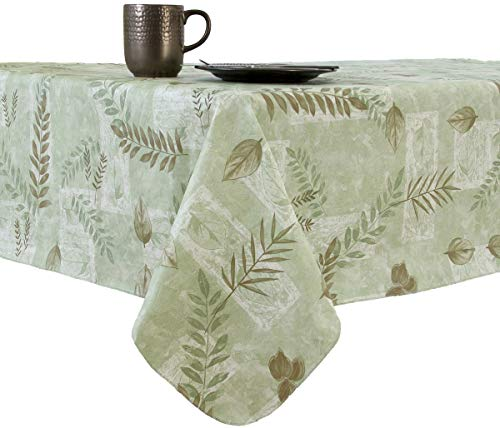 EVERYDAY LUXURIES Boxed Fern Flannel Backed Vinyl Tablecloth Indoor Outdoor, 90-Inch Round, Sage (90 Inch Round Vinyl Flannel Backed Tablecloth)