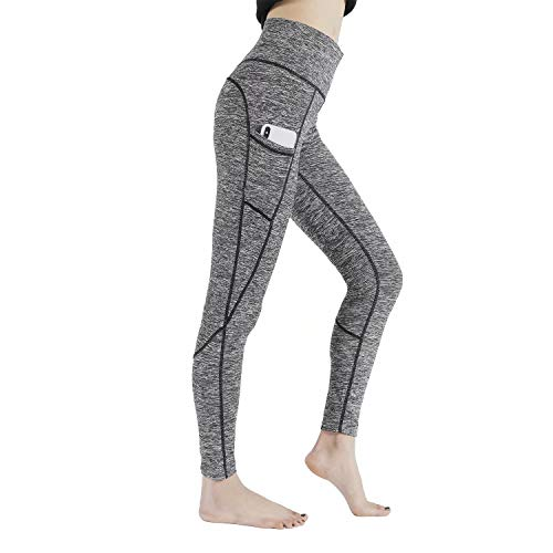 HIG Yoga Pants High Waist Leggings Tummy Control Workout Pants for Women with Outside Pockets Dark Grey