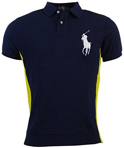 Polo Ralph Lauren Mens Custom Fit Big Pony Mesh Polo Shirt - M - Navy/Yellow