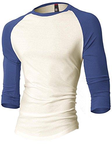 MX Mens Baseball Raglan 3/4 Sleeve Casual Basic Plain T Shirts