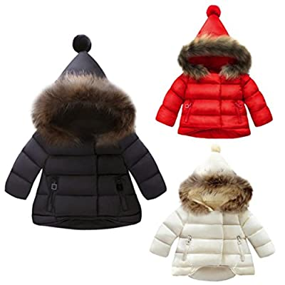 G-real Warm Down Jacket, Infant Toddler Girls Boys Winter Fur Collar Hoodie Coat Jacket Windproof Snowsuit Outwear Clothes for 1-5 Years Old