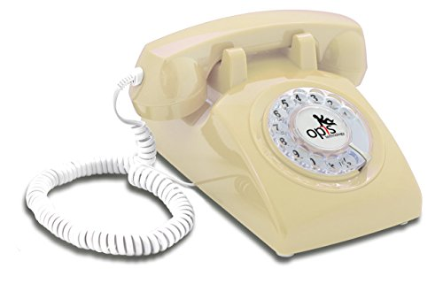 OPIS 60s CABLE with Opis Technology inlay: designer retro phone/rotary dial telephone/retro style phone/vintage telephone/classic desk phone with rotary dialler (cream)