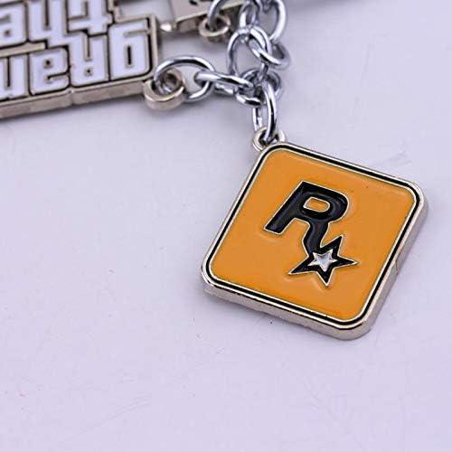 TUDUDU Joyer/ía De Moda Ps4 GTA 5 Llavero Grand Theft Auto V Llavero Coche Colgante Accesorios