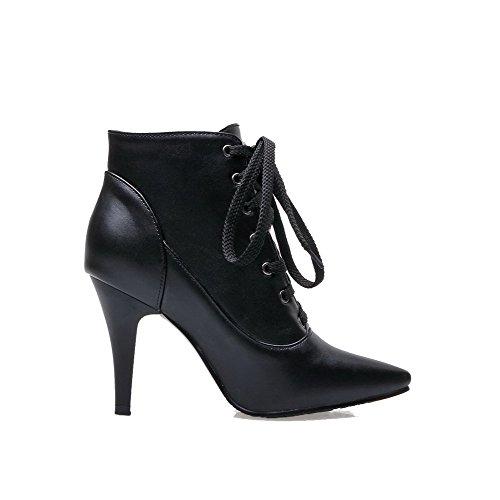 top Svart up Materiale Mykt Kvinners Blonder Solid Høye Lav Allhqfashion Boots Hæler wqYRzP