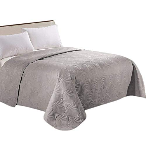 HollyHOME Coastal Style Super Soft Solid Single Shell Parttern Pinsonic Quilted Bed Quilt Bedspread Bed Cover, Grey, Full/Queen
