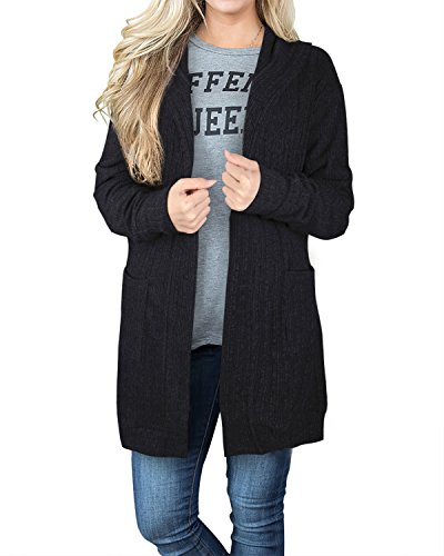 STYLEWORD Women's Long Sleeve Open Front Hoodies Cardigan Sweaters With Pocket(Black,L)