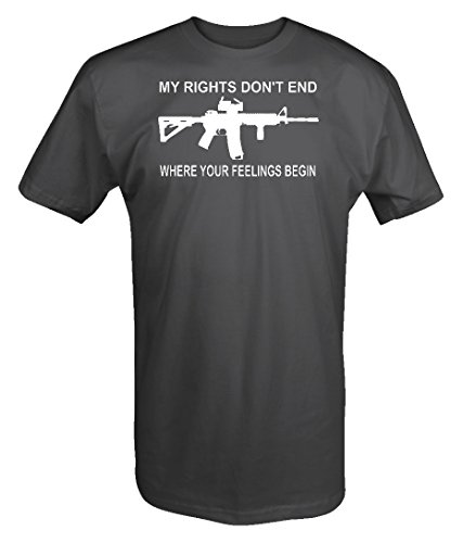 My Rights Don't End Feeling Begin NRA Gun AR15 2nd Amendment T Shirt,Charcoal,X-Large