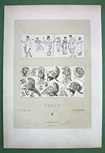 GREEK Costume People of Athens Helmets of Warriors --- Tinted Antique Lithograph Print by Racinet