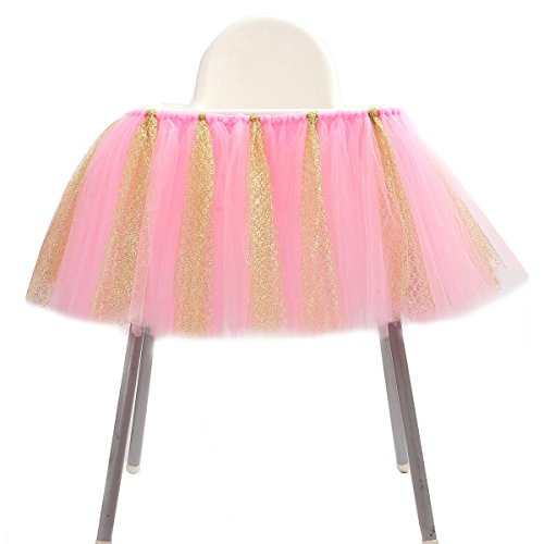 1st Birthday Tutu Skirt for High Chair Decoration for Party Supplies Baby Pink (Pink & Gold- No Banner)