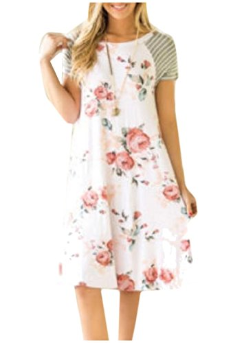 Casual Printed Dress White Sleeve Women Short Everyday Style Shift Coolred BWp5nqSc