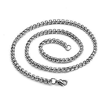 Collar de palabra O - Doyeemei cadena de joyeria de hombres y mujeres, collar de acero inoxidable, plata ¨C anchura 3mm ¨C longitud 70cm