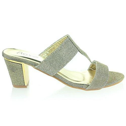 Mujer Señoras Brillar Resplandecer T Bar Ponerse Tacón de Bloque Noche Casual Fiesta Sandalias Zapatos Tamaño Estaño