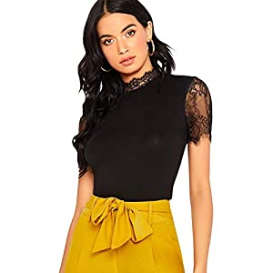 Floerns Women's Solid Short Sleeve Lace Paneled Blouse Top