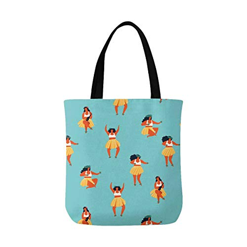 InterestPrint Cute Hawaii Dance Girls Playing Ukulele and Dancing Hula Canvas Tote Bags Reusable Shopping Bags Grocery Bags Party Supply Bags for Women Men Kids -