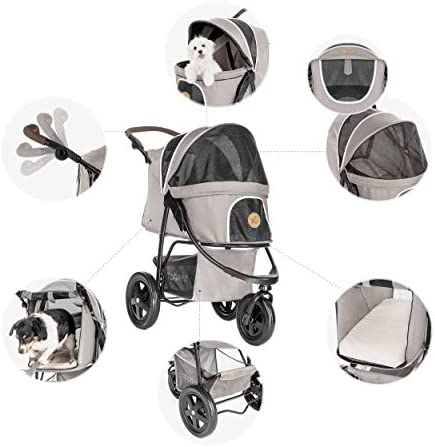 41 tjHFh6IL. AC - Hauck TOGfit Pet Roadster - Luxury Pet Stroller For Puppy, Senior Dog Or Cat | Easy Foldable Three Wheels Travel Pet Jogger Max. Loading 70 Lb, Mattress Included - Gray