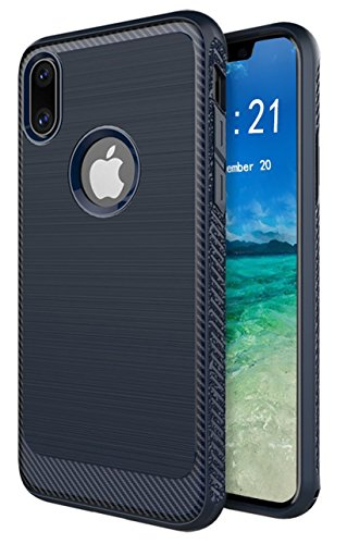 Brushed Pattern - iPhone X Case, SunMax[Updated Version] Brushed Metal Design [Flexible & Slim] Dynamic Stroked Line Pattern Durable Anti Slip Impact Shock Absorbent Case for iPhone X (Blue)