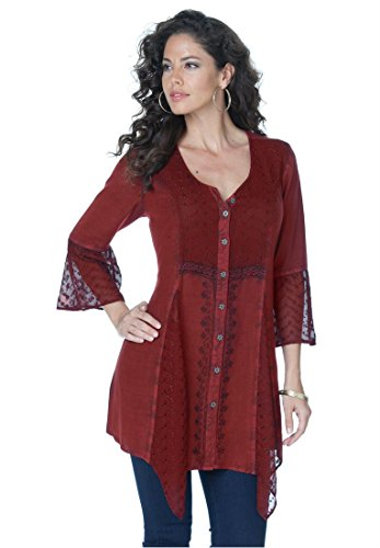 Roamans Women's Plus Size Acid Wash Bigshirt (Cinnamon Red,22 W)