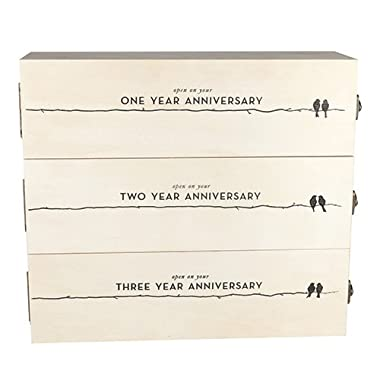 Boulevard Newlywed's Anniversary Wooden Wine Box by Twine – 3 Bottle Gift Box