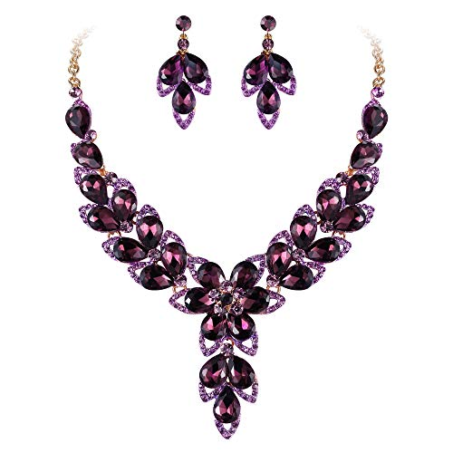 BriLove Women's Wedding Bridal Crystal Multi Teardrop-Shape Flower Hollow Enamel Statement Necklace Dangle Earrings Set Deep Amethyst Color Gold-Toned