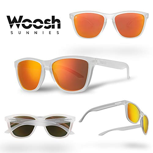 WOOSH Polarized Lightweight Sunglasses for Men and Women - Orange Lens & Clear Matte Frame - Unisex Sunnies for Fishing, Beach and Outdoors