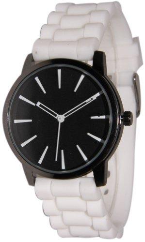 New Geneva White w/ Black Silicone Watch