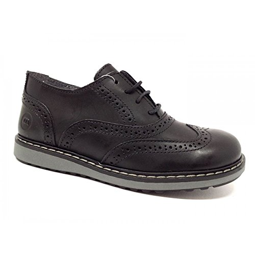 Melania - Zapatillas de Piel para niño Negro negro