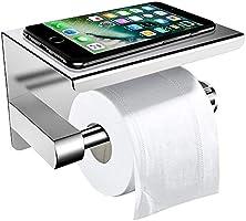 Toilettenpapierhalter Ohne Bohren mit Ablage, ZOTO 3M-Kleber Selbstklebend Klorollenhalter Edelstahl, Klopapierhalter WC...