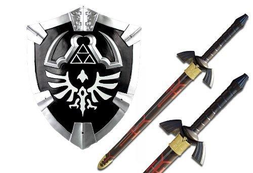 THE Legend of Zelda Real Steel Dark Master Sword and Dark Shield Set Costume Black Link ()