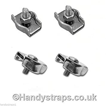 Wire Rope Grips 4 x 6mm Stainless Steel Bulldog Clamp Marine  Handy Straps