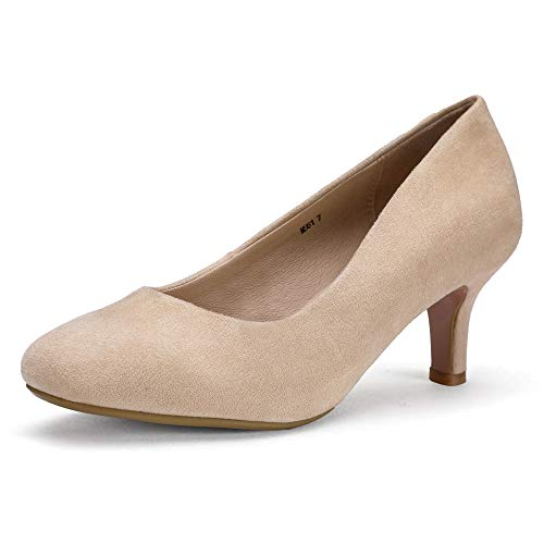 IDIFU Women's RO2 Basic Round Toe Mid Heel Pump Shoes (Nude Suede, 7.5 B(M) US) -