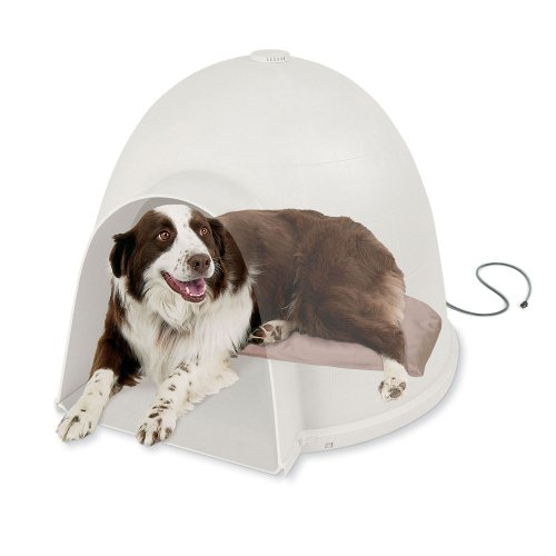 K&H Pet Products Lectro-Soft Igloo Style Outdoor Heated Bed Large Tan 17.5