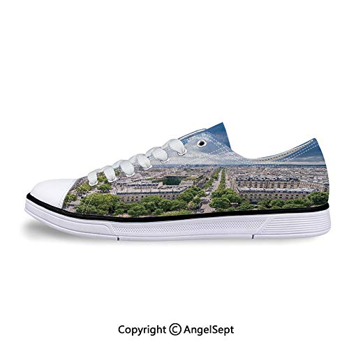 Sneaker Tower French Heritage Culture Architecture Flat Canvas Shoes for Womens