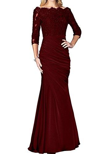 Burgundy Spitze Brautmutterkleider La Lang Langarm Braut Etuikleider mia Damen Abendkleider Abschlussballkleider UqUSOCw6H