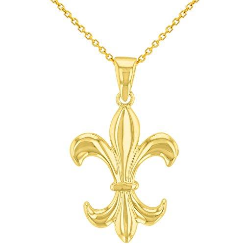 (Solid 14K Yellow Gold Simple Fleur de Lis Charm Pendant Necklace, 20