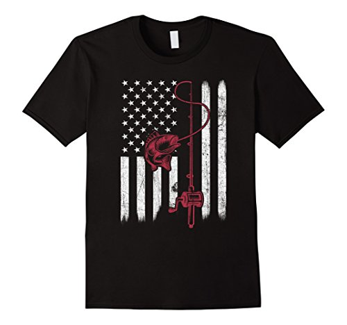 Bait Use Trout Fishing (Mens Vintage Fishing Tshirt with American Flag Bass Fishing Large Black)