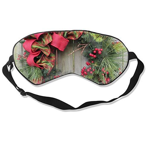 Sleep Mask Christmas Wreath Decorating Eye Mask Patch With Adjustable Strap Eye Shades For Travel, Nap, Meditation, Blindfold (Wreath Kohls Christmas)
