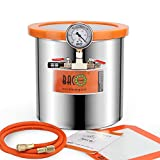 BACOENG 3 Gallon Tempered Glass Lid Stainless Steel Vacuum Chamer Perfect for stabilizing Wood, Degassing Silicones, Epoxies and Essential Oils