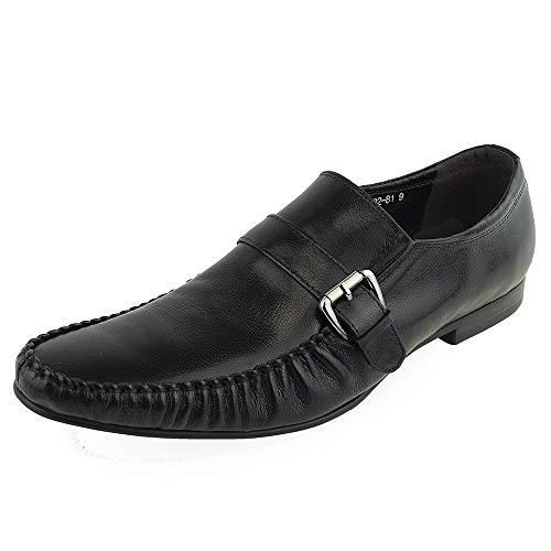 Men's Dress Shoes Italian Casual Moccasin Moc Toe (Color : Black, Size : 11 M US)