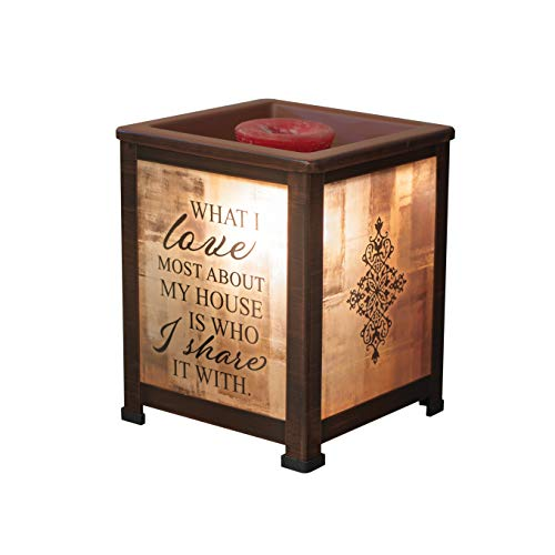 (Elanze Designs Love Most About House Share It Copper Tone Metal Electrical Wax Tart & Oil Glass Lantern Warmer)
