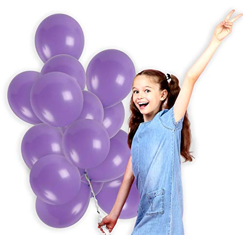 (Light Purple Solid Balloons 12 Inch Lavender Lilac Thick Latex Balloon Pack of 100 and 65 Yards Curling Ribbons Party Supplies for Wedding Bridal Baby Shower Birthday Party Decorations)