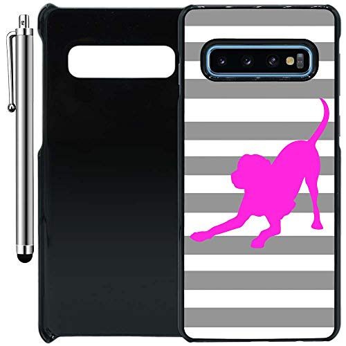 Custom Case Compatible with Galaxy S10 (Striped Lab Gray White Pink) Plastic Black Cover Ultra Slim | Lightweight | Includes Stylus Pen by Innosub
