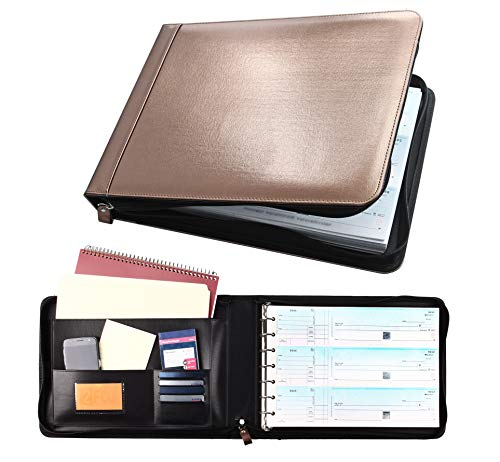 Business Check 7 Ring Binder for 3-Up Checks PU Leather Portfolio Checkbook Cover with Zipper (Metallic - Brown Leather Metallic