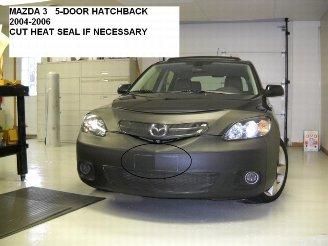 (Lebra 2 piece Front End Cover Black - Car Mask Bra - Fits - MAZDA 3 5Dr. Hatchback Only 2004 thru 2006)