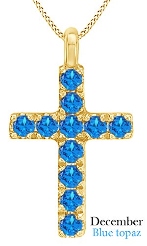 AFFY Round Cut Simulated Blue Topaz Cross Pendant Necklace in 14k Yellow Gold Over Sterling Silver