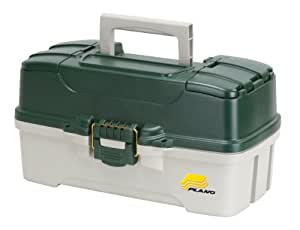 Plano 3-Tray Tackle Box with Dual Top Access, Dark Green Metallic/Off White