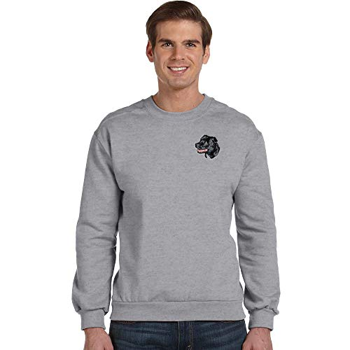 - Cherrybrook Breed Embroidered Anvil Mens Crew Sweatshirt - Medium - Heather Gray - Staffordshire Bull Terrier
