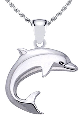 US Jewels And Gems New Solid 0.925 Sterling Silver Dolphin Aquatic Charm Pendant Necklace